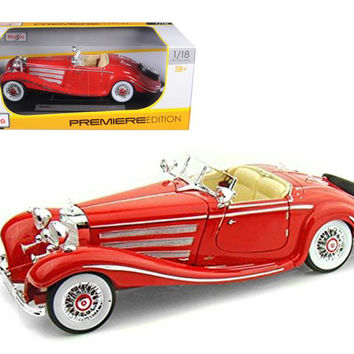 1936 Mercedes 500K Special Roadster Red 1-18 Diecast Model Car by Maisto