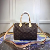 LV Louis Vuitton SMALL MONOGRAM LEATHER HANDBAG SHOULDER BAG