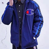 Champion & Supreme New fashion bust logo and sleeve string mark back letter print keep warm couple long sleeve top coat cotton clothing Sapphire Blue