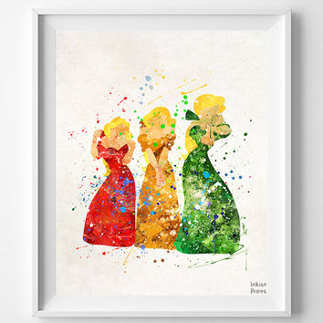Bimbettes Print, Beauty and the Beast, Watercolor Art, Triplets, Disney Poster, Nursery Posters, Baby Wall Decor, Fathers Day Gift