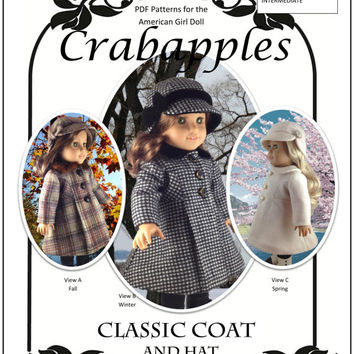 American Girl PDF Pattern for 18 inch doll Classic Coat Instant Download