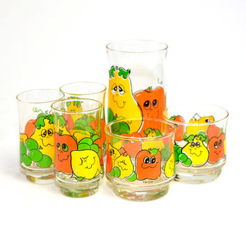 Retro Smiling Fruit Glasses by Nancy Lynn - Tumbler, Lowball and Juice Glass Mixed Set (6 Pieces) - Cute, Colorful Yellow, Orange & Green