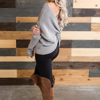 Cassidy Twist Back Sweater (Heather Grey)