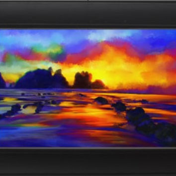 Impressionist sunset beach Landscape Digital Painting signed art print A2 59 x 42 cm  nature ocean night
