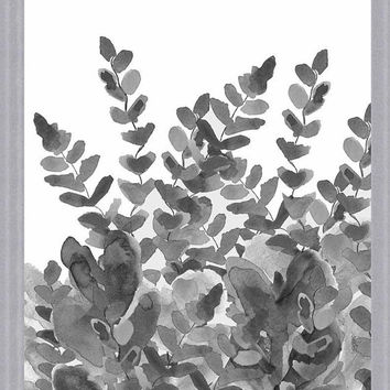 Black and White Art 11x14 Fern Garden Charcoal Gray Art Print Modern Floral Contemporary Decor