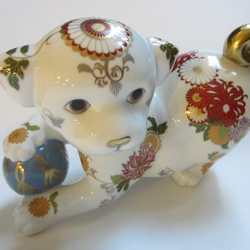 Imperial Puppy of Satsuma Franklin Mint Japan Hand Painted Fine Porcelain