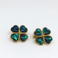 Vintage Clover Earrings with  Green to Blue Dichroic glass enamel and Gold tone  / Clip on / 1980s