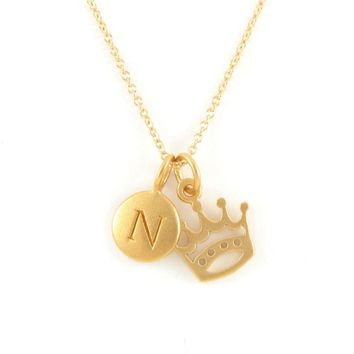 Gold Initial & Crown Charm Necklace