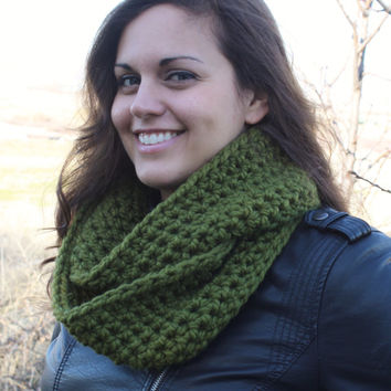 Crochet Infinity Scarf- Olive Green- SIZE SMALL