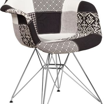 ALONZA SERIES TURIN PATCHWORK FABRIC CHAIR WITH CHROME BASE