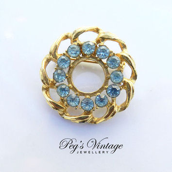 Vintage Blue Rhinestone Circle Brooch/Pin, Gold Tone Twist Wreath Brooch