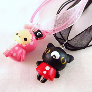 BFF Sentimental Circus Necklace Set - Kawaii Pendant - Cute Charms - Best Friends Forever - Unique Gift - Slight Imperfections - 2 pieces