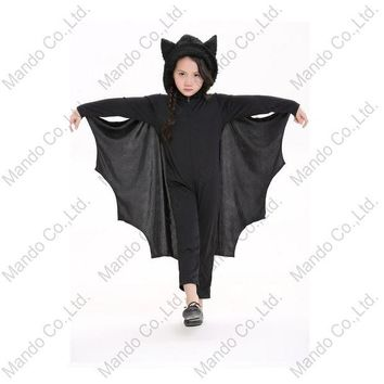 DCCKH6B Boys Girls Halloween Clothing Kids Black Vampire Bat Cosplay Costume Children halloween Fancy hooded jumpsuit