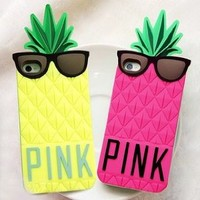 3D Mr.Pineapple Soft Silicone Gel Back Case Cover for iPhone 5 Green