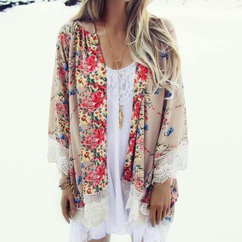 2017 Fashion Floral Chiffon Kimono Women Cardigan Elegant Lace Women Flower Print Chiffon Blouse Shirt Women Loose Kimono Jacket