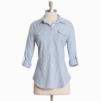 city celebration button up top in blue: ShopRuche.com