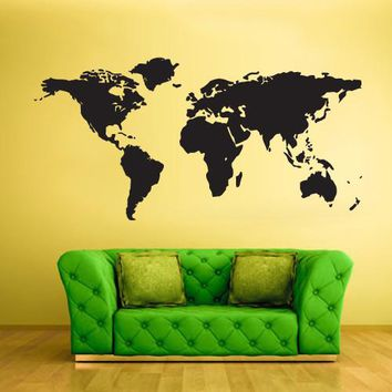 Wall Vinyl Decal Sticker Bedroom Decal World Map  z450