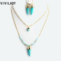 Faux Turquoise Stone Jewelry Set