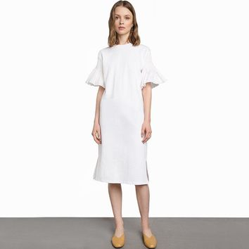 Fashion loose solid color ruffles half butterfly sleeve  woman's Casual dress