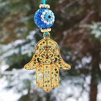 Protecting Hamsa Rear View Mirror Car Accessory Dangling Charm