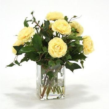Waterlook (r) Light Yellow Ranunculus W/ Ivy and Basil In Square Glass Vase