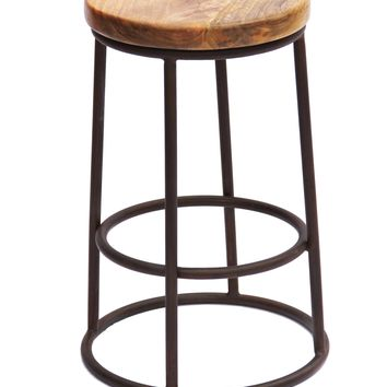 Wooden 24 Inch Circular Counter Height Barstool With Metal Base, Brown And Black By The Urban Port
