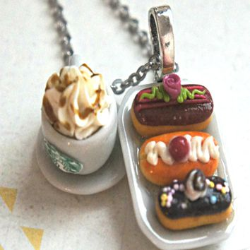eclairs and starbucks coffee necklace