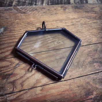 Double sided glass diamond frame pendant from ingredientsforlovel double sided glass diamond frame pendant hinged locket charm frame antique bronze vint aloadofball Choice Image