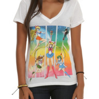Sailor Moon Group Girls V-Neck T-Shirt