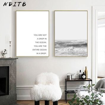 NDITB Scandinavian Sea Coastal Wall Art Canvas Painting Ocean Waves Seascape Posters and Prints Nordic Style Decoration Pictures