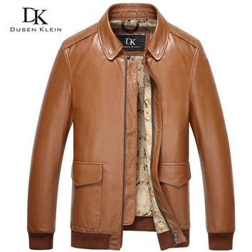 Dusen Klein mens leather jacket Real cowskin Luxury business style /Slim black/yellow brown leather Coat  15L1517