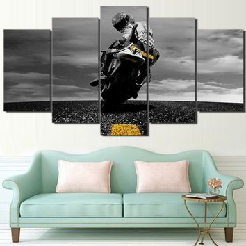 5 Piece Canvas Art Motorcycle Canvas Painting Framed Wall Art Canvas Posters and Prints Wall Pictures for Living Room