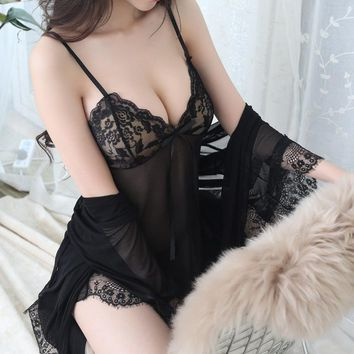 POLIPOPO New Sexy Women Silk Satin Ladies Pajamas Sleepwear&Robes Nightdress Nightgown with panties