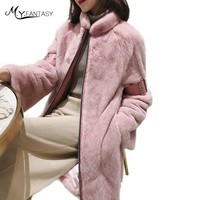 M.Y.FANSTY2017 Import Winter Women's Flare Sleeve Mink Coat Real Fur Coat Mandarin Collar Insignia Medium Loss Mink Fur Coats