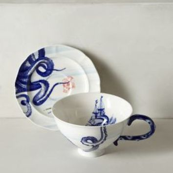 From The Deep Cup & Saucer by Anthropologie Blue Motif One Size Dinnerware