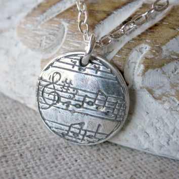 Music Pendant, Fine Silver,  Music Jewelry, Musical Note, PMC, Sheet Music, Sterling Silver
