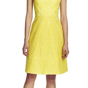 Medallion Lace Spliced Fit and Flare Dress - Adrianna Papell