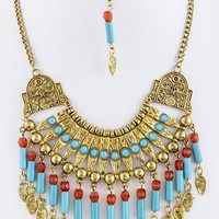 TRIBAL ORNATE BIB NECKLACE SET
