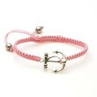 Braided Rope Fashion Bracelet w/ Sterling Silver Anchor & Rope Pendant (Light Pink)