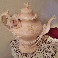 Teapot Center Piece Vintage 1905 shabby chic pink white pearls cameos roses Teapot Decor | Myeuropeantouch - Housewares on ArtFire