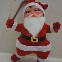 "Vintage 1950's Christmas Ornament Flocked ""Santa Playing Hockey"" Figure"