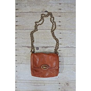 Vintage Chain Link  Leather Crossbody Bag