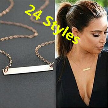 25 Models NEW European Style Simple Necklace Teen Gold Choker Necklace Femme Fashion Statement Necklace For Women Cute Jewelry