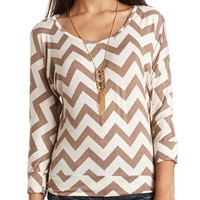 3/4 SLEEVE CAGE-BACK PRINTED TOP