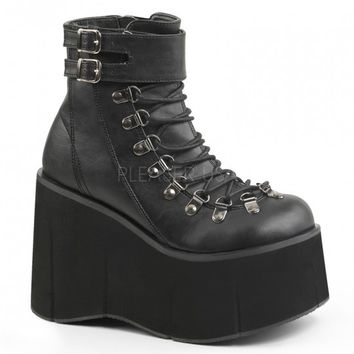 Black Strappy Lace Up Buckle Accent Platform Wedges Faux Leather