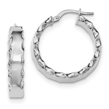 Sterling Silver Rhodium-plated Scalloped Edge Hoop Earrings QE11678