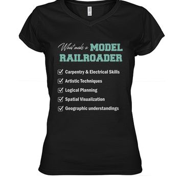 What make a model railroader shirt Women's V-Neck