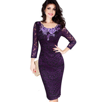 Womens Autumn Elegant Embroidery See Through Lace Party Evening Special Occasion Sheath Vestidos Bodycon Dress 214