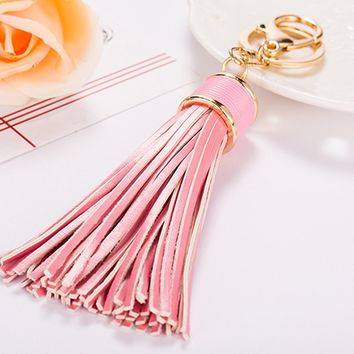 Women Tassels Keychain Car Circle Key Rings Gift Bag Hanging Buckle