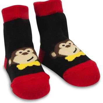 Red and Black Monkey Baby Socks 0-12 Months